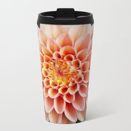 Light Orange Dahlia Metal Travel Mug