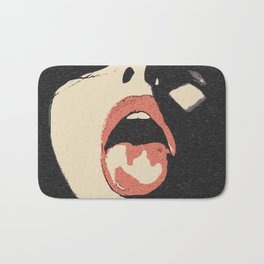Good girl waits for her dose, submission pop art, sexy lips, erotic, seducing, sensual sketch Bath Mat