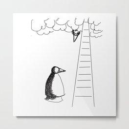 Metaphysical Penguin Waiting for You Metal Print