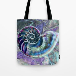 Iridescent Shell Snail Fossil Tote Bag