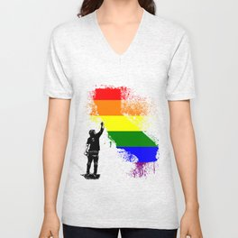 California Wall tagger Rainbow black Unisex V-Neck