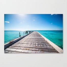 Turks and Caicos beach pier Canvas Print