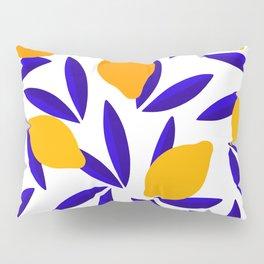 Blue and yellow Lemon Summery Pattern Pillow Sham