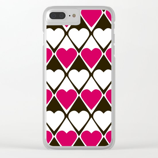 Abstract print with hearts Valentines Day love Clear iPhone Case
