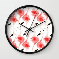 flamingos Wall Clocks featuring Flamingos! by Bouffants and Broken Hearts