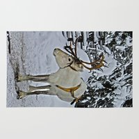 finland Area & Throw Rugs featuring Reindeer in Lapland Finland by Guna Andersone & Mario Raats - G&M Studi