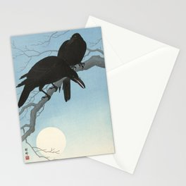 Two crows on a branch, Ohara Koson, 1927 Stationery Cards