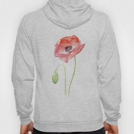 Red Poppy Flower Flowers Hoody