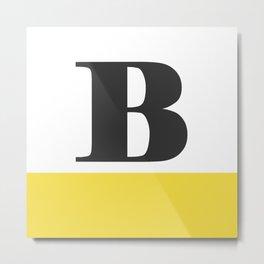 Monogram Letter B-Pantone-Buttercup Metal Print