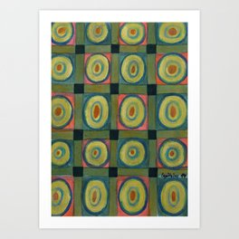 Strong Green Grid filled with Yellow Circles Art Print