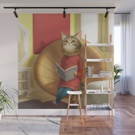 A cat reading a book Wall Mural