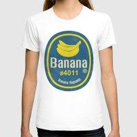 sticker T-shirts featuring Banana Sticker On Yellow by Karolis Butenas