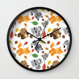 Wood animals pattern Wall Clock