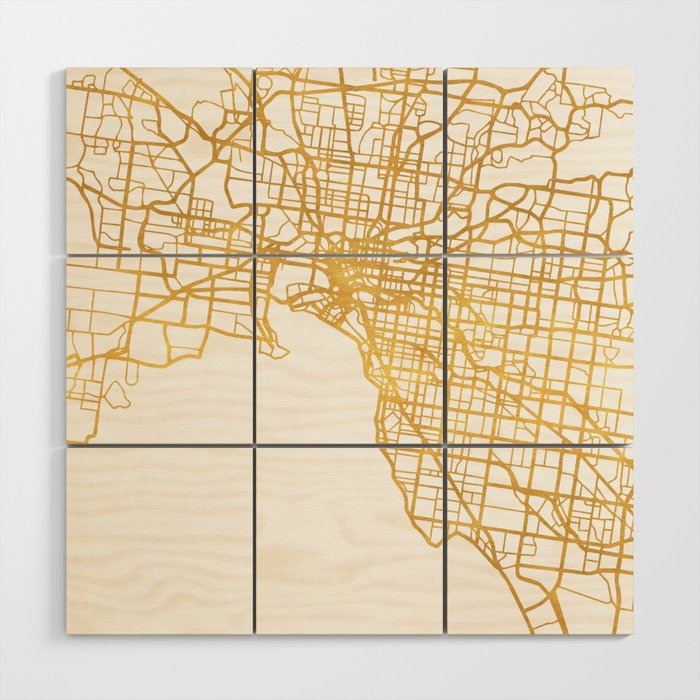 Melbourne Australia City Street Map Art Wood Wall Art By Deificusart