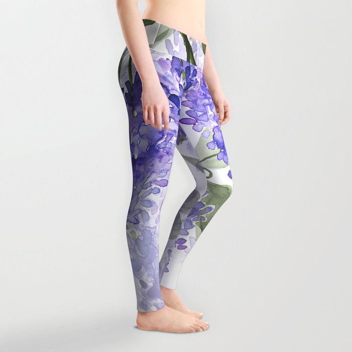 Purple Wisteria Flowers Leggings