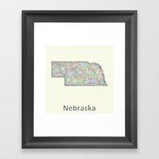 Nebraska map Framed Art Print