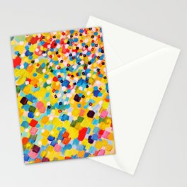 SWEPT AWAY 2 - Vibrant Colorful Rainbow Mango Yellow Waves Mermaid Splash Abstract Acrylic Painting Stationery Cards