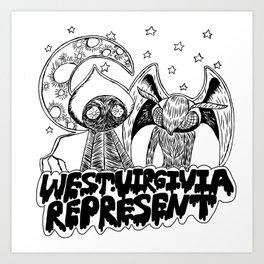 Mothman and Flatwoods: West Virginia Represent Art Print