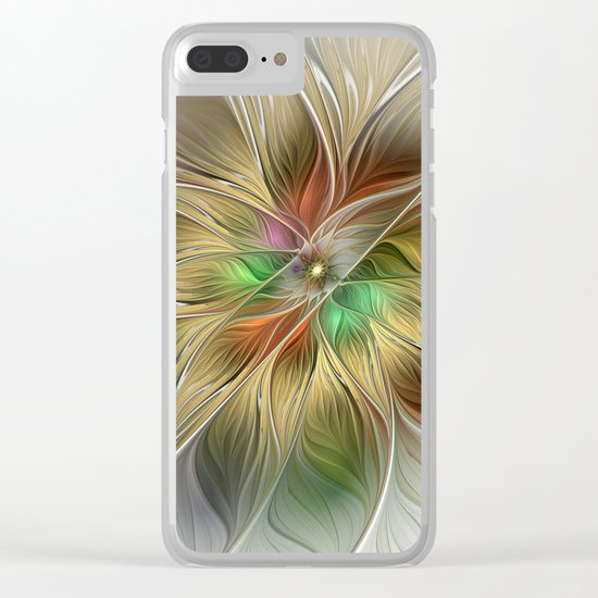 Golden Flourish, Abstract Fractal Art Clear iPhone Case