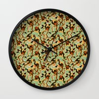 swimming Wall Clocks featuring Swimming by Boiling Point Press