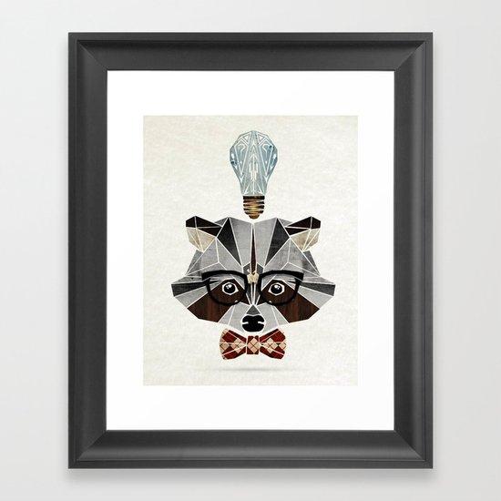 raccoon nerd Framed Art Print