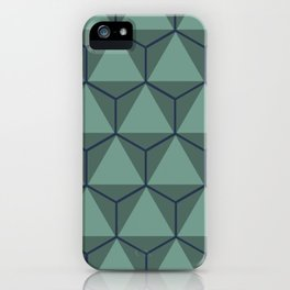 Blue and Green, Triangle and Hexagon Pattern iPhone Case