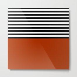 Rusty Orange & Stripes Metal Print