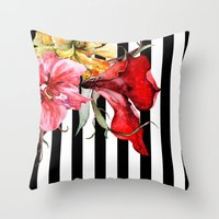 flora Throw Pillows featuring FLORA BOTANICA | stripes by Cheryl Daniels