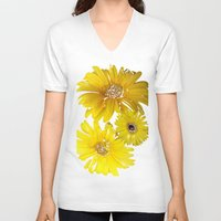 daisies V-neck T-shirts featuring Daisies by Regan's World