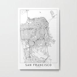 San Francisco White Map Metal Print