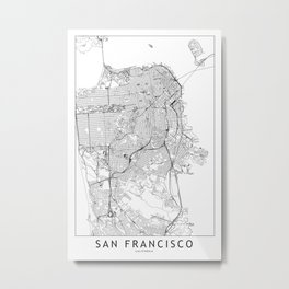 San Francisco White Map Metal Print