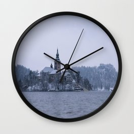 Misty Bled Lake Wall Clock