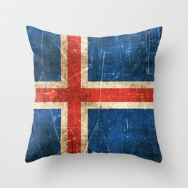 Vintage Aged and Scratched Icelandic Flag Throw Pillow
