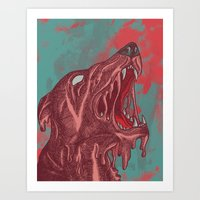 the hound Art Prints featuring HOUND CRY by Lil Hooves / Illustrator Kat G