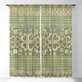 Shamrock Four-leaf Clover Green Wood and Gold Sheer Curtain