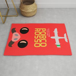 Porco Rosso, japanese movie poster, classic anime, cult manga, Marco Pagot, japan film, alternative movies art, minimalist playbill Rug