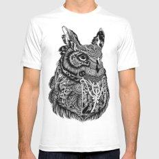 Owl MEDIUM White Mens Fitted Tee