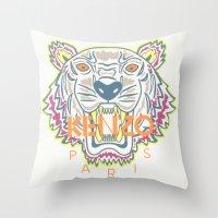 kenzo Throw Pillows featuring Kenzo by Beauti Asylum