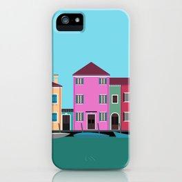 Burano, Italy Travel Poster Block Type iPhone Case