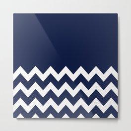 Indigo Navy Blue Chevron Colorblock Metal Print