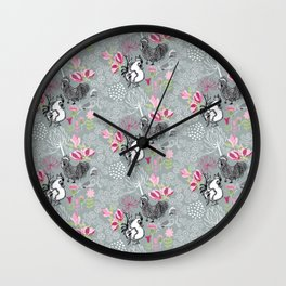 Magnolia Roosters Wall Clock