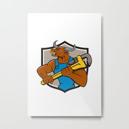 Minotaur Bull Plumber Wrench Crest Cartoon Metal Print