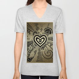 Gold heart Unisex V-Neck