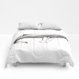 Humpback whale black and white ink ocean decor Comforters