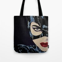 catwoman Tote Bags featuring Catwoman by Cassidy Dawn