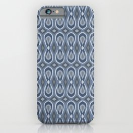 Ikat Teardrops in Slate Blue and Gray iPhone Case