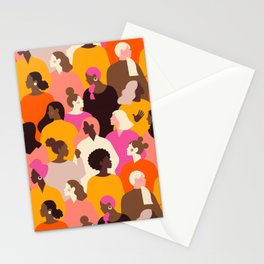 Female diverse faces pink Stationery Cards