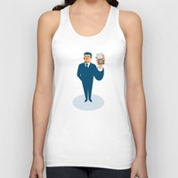 wallet Tank Tops featuring businessman secret agent showing id card badge wallet by retrovectors