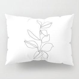 One line minimal plant leaves drawing - Birdie Pillow Sham