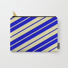Pale Goldenrod and Blue Colored Pattern of Stripes Carry-All Pouch